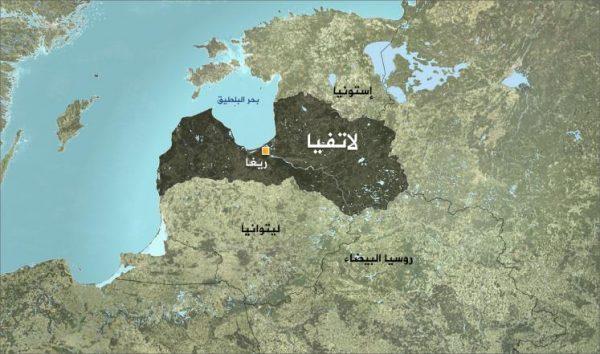 موقع لاتفيا علي الخريطة