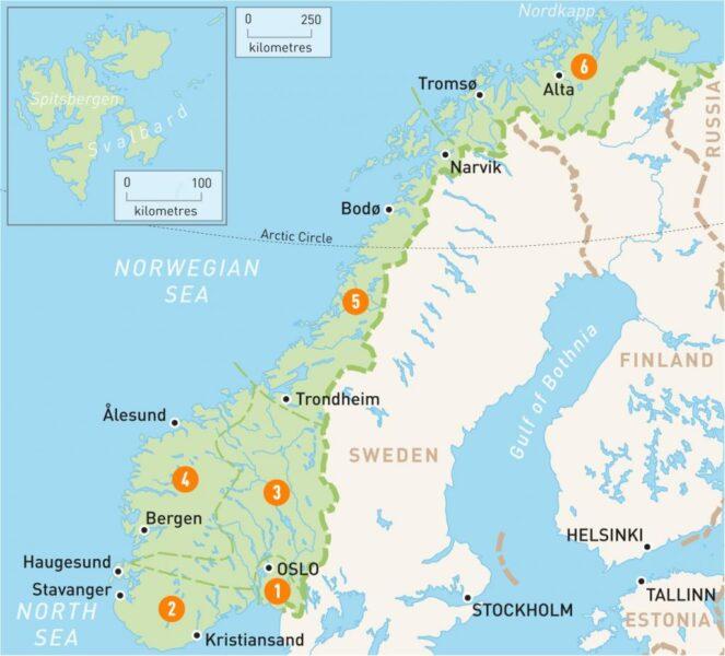خريطة النرويج السياحية