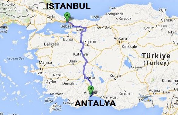 كم تبعد انطاليا عن اسطنبول.