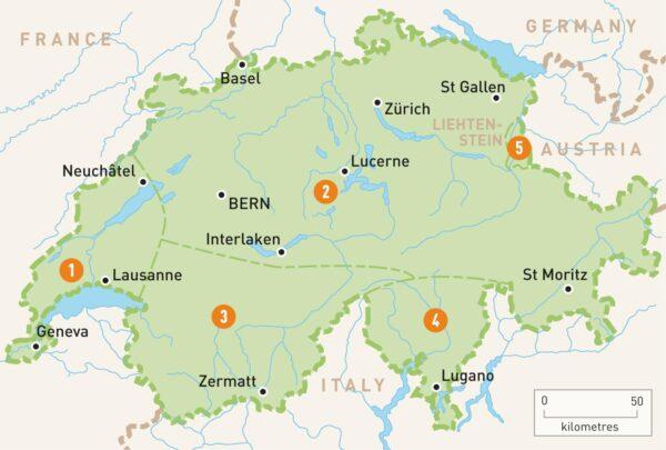 الموقع الجغرافي لمدينة زيورخ
